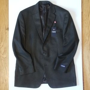 Chaps Sport Coat Blazer Brown Tweed 46 Long